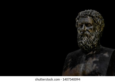 Bust of tragic poet Sophocles in Athens, Greece with black background