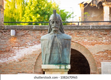 A bust of Vlad Tepes, Vlad the Impaler, the inspiration for Dracula, in