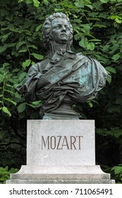 Bust of Wolfgang Amadeus Mozart on Kapuzinerberg hill in Salzburg, Austria. The bust was erected in 1881.