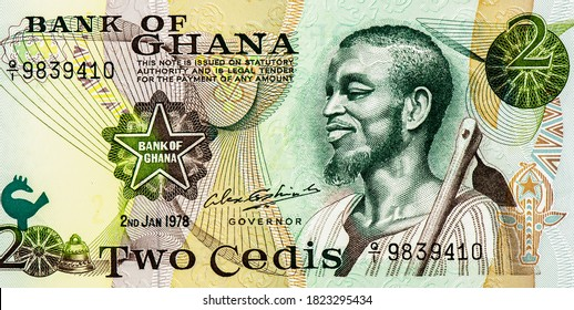 Bust of a young man with a hoe. Portrait from Ghana 1 Cedi 1972-1978 Banknotes.