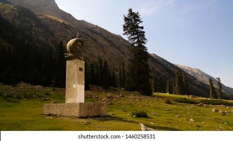 bust of Yuri Gagarin, first russian Cosmonaut, at the Barskoon canyon in Issyk-Kul, Kyrgyzstan