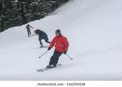 BUSTENI, ROMANIA, February 02, 2010: Three skiers are skiing in different styles at Busteni mountain.