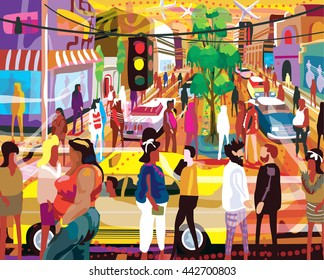 Bustling Shopping Street Illustration in Grunge Art Style