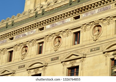 Busts in the pantheon of the Paris Opera House (Palais Garnier) on the north-west facade, Carl-Maria von Weber flanked by Nicolo and Bellini.