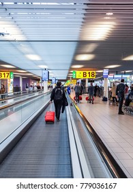 busy at the airport during Christmas holiday Schiphol Amsterdam Airport Netherlands December 2017