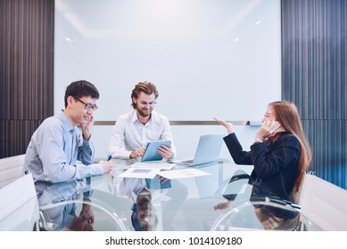 Busy business people meeting in a meeting room, Multitask Teamwork Activity