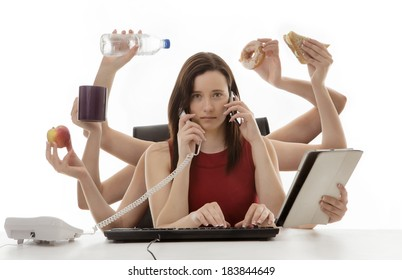 busy business woman multitasking in the office with ten arms
