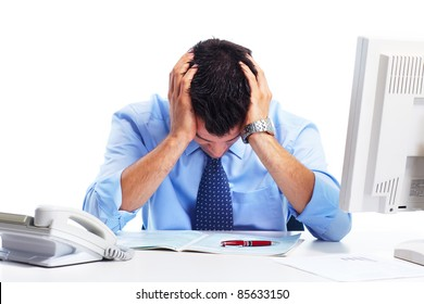 Busy businessman having headache. Isolated over white background