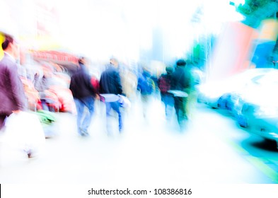 busy city pedestrian people crowd on street road abstract