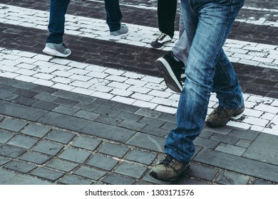 Busy city street people on zebra crossing people cross the road at the land pedestrian crossing modern city ecological health beneficial greet good advantages favorable helpful useful