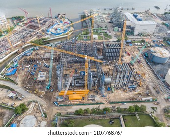 Busy Construction Site and Construction Equipment of Power Plant Aerial Photo