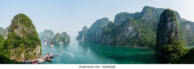 Busy cove near Sung Sot Cave in Halong Bay, Vietnam