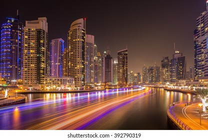 Busy evening in Dubai Marina,Dubai,United Arab Emirates