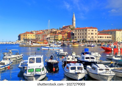 Busy harbor of the old town of Rovinj, Croatia