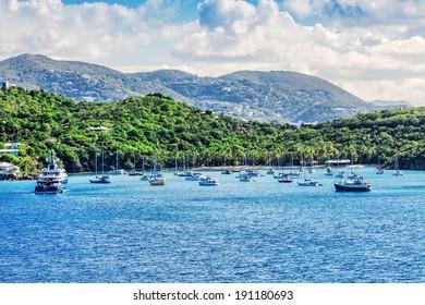 Busy harbor in St. Thomas, Virgin Islands, Caribbean