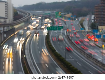 Busy highway at dusk - blurred background