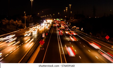 Busy highway in Ontario at night, Canada