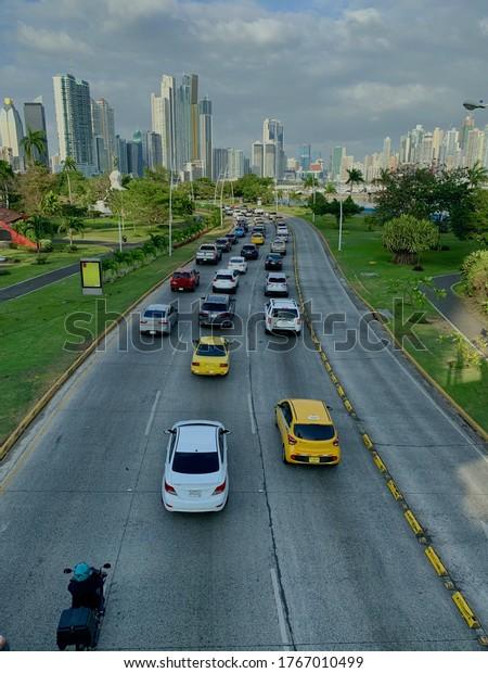 Busy highway in Panama City, Panama