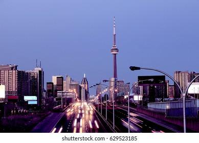 Busy highway in Toronto, Ontario, Canada