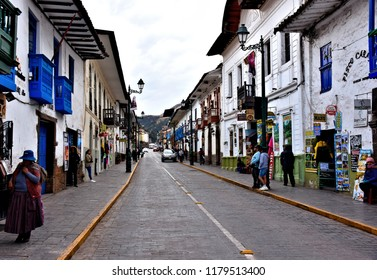 Busy historical Calle Plateros. Cusco. Peru.  Street is located in city center (near Plaza de Armas) - popular tourist and locals destination. Photo taken 2018-08-25.