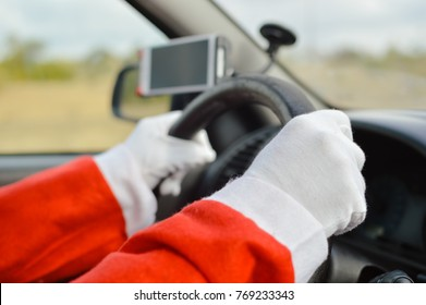 Busy holiday time for Santa Claus driving vehicle carrying delivering presents celebrating joy happiness. Close up on person providing quick transportation service. Rushing people solution concept.