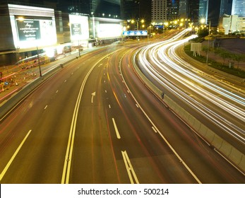 Busy Hong Kong City Highway with Timelapse traffic
