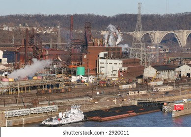 A busy industrial scene on the Monongahela River