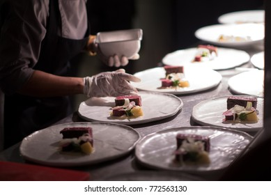 Busy kitchen with team chef
