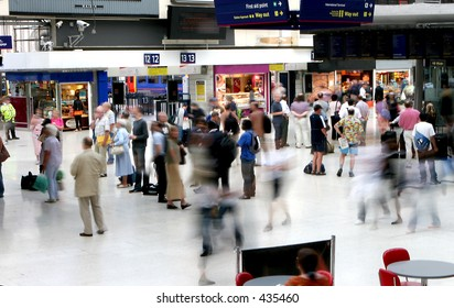 Busy Main Line Station in London