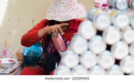 in the busy market  Angkorwat, Siemreap, Combodia 03 Dec 2018