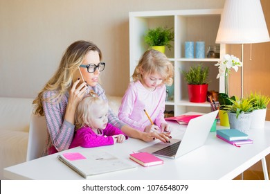 Busy mom multitasking