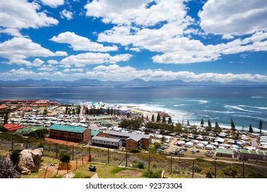 busy Mossel Bay beach during holiday season