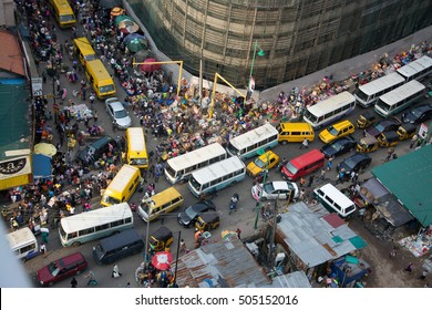 BUSY NIGERIAN MARKET LAGOS, NIGERIA - AUGUST 11, 2016: A busy market in Lagos Nigeria on August 11, 2016