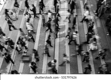 Busy pedestrian crossing at Hong Kong (Black And White)