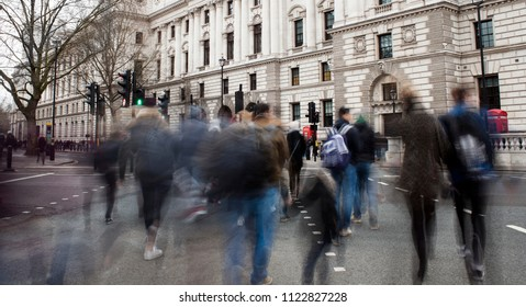 busy people in the London city. abstract motion, long exposure.