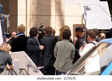 busy press scene