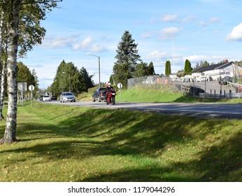 Busy road traffic - travel road - sunny season - Kongsvinger, Norway (14th September 2018)