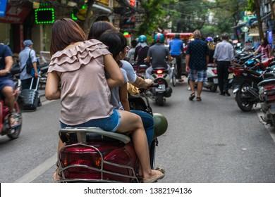 Busy street in Hanoi, Vietnam.