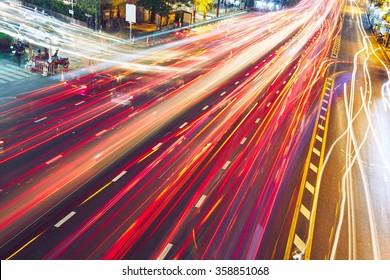 Busy street at the night - Bangkok, Thailand