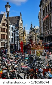 The busy streets of Antwerp Belgium  filled with people, bikes and traces of Flemish architecture  09-17- 2016
