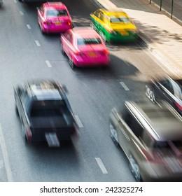 busy traffic in Bangkok, Thailand, in motion blur