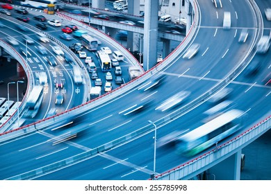 busy traffic motion blur with car accident on the interchange bridge