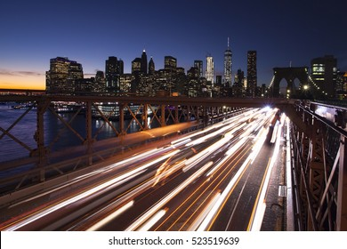 Busy traffic in New York City, Manhattan, Brooklyn Bridge