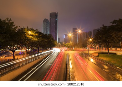 busy traffic at night at chengdu,china