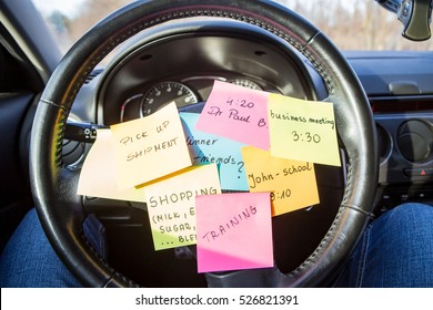 busy work do post notes list chaotic stress errands multitask overloaded concept - stock image