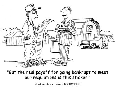 """But the real payoff for going bankrupt to meet our regulations is this sticker (I love the environment)""."