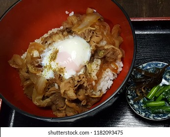 Buta don with boil egg - Japanese food