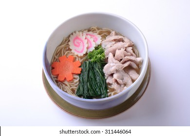 Buta ramen, Japanese Raman with pork isolated on white background.