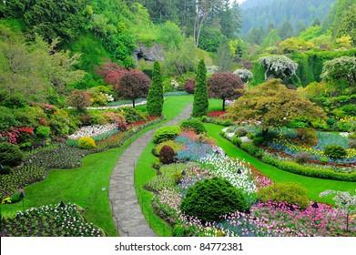 butchart garden in spring, victoria, british columbia, canada