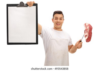 Butcher holding a clipboard and a fork with a steak isolated on white background